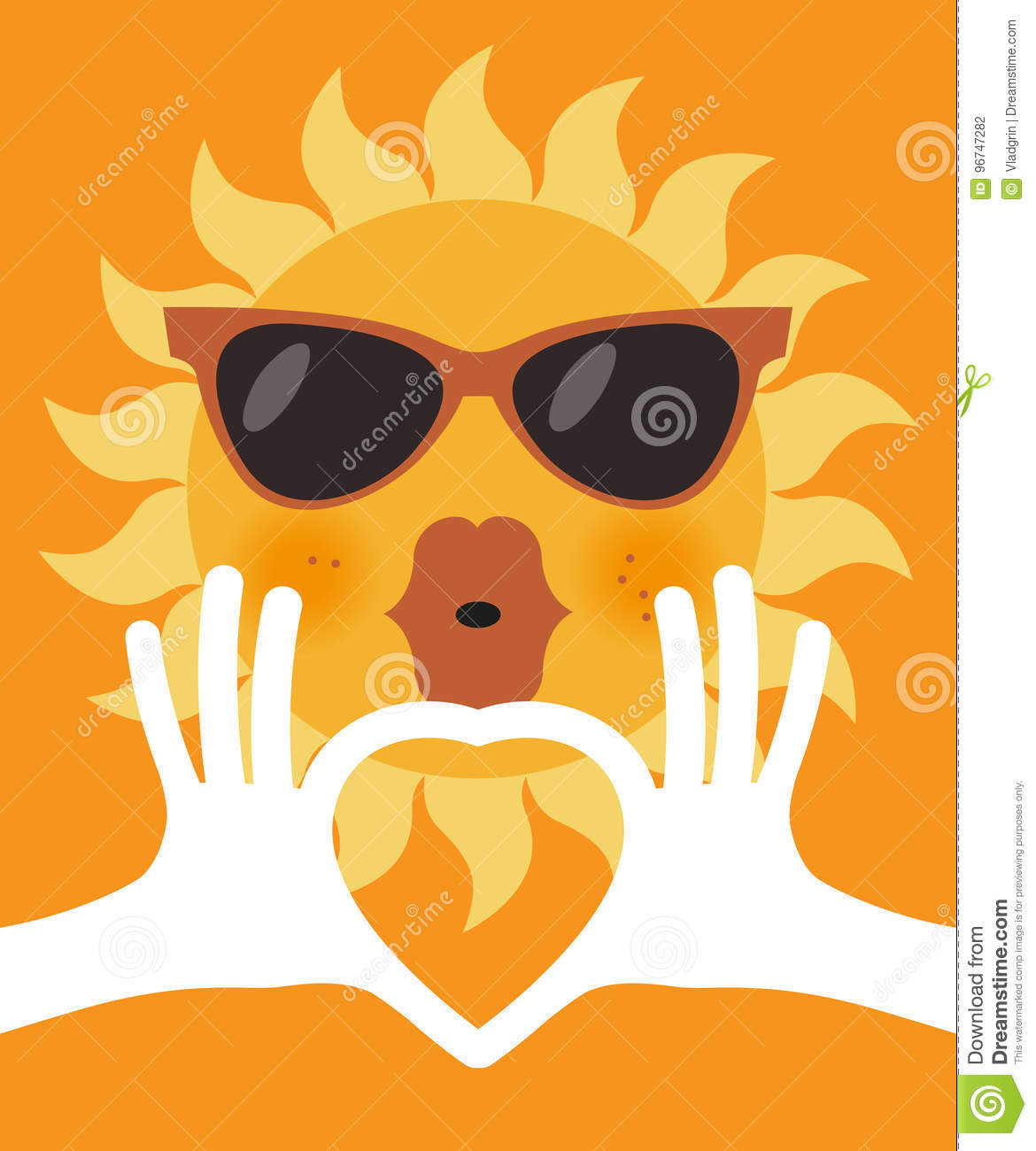 The Shape Of Heart In Human Hands And Cartoon Sun In Glasses