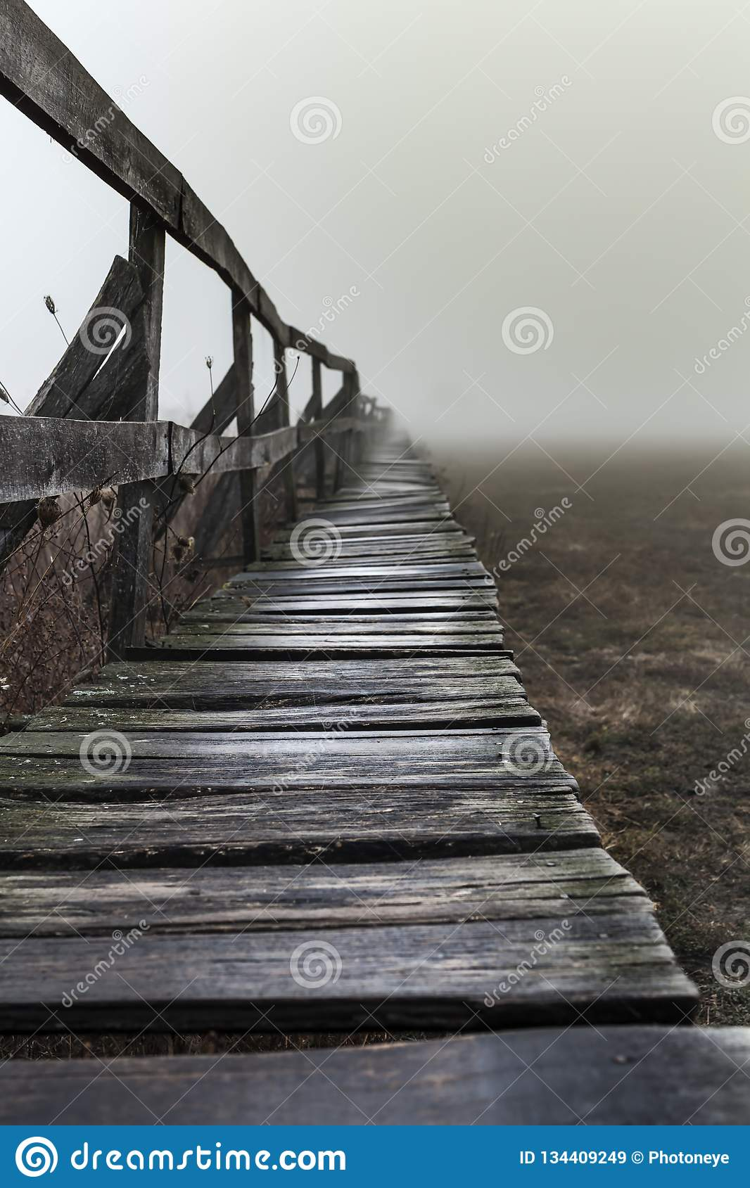 Shape of a pier near a lake, wintertime on a foggy morning, in Sic village, Trannsylnia, Romania