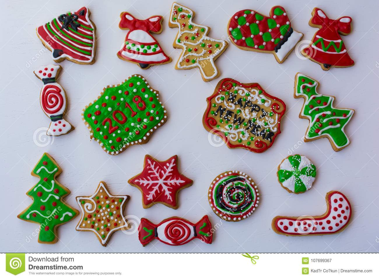 Shaped Colorful Christmas Cookies Stock Image Image Of Ginger