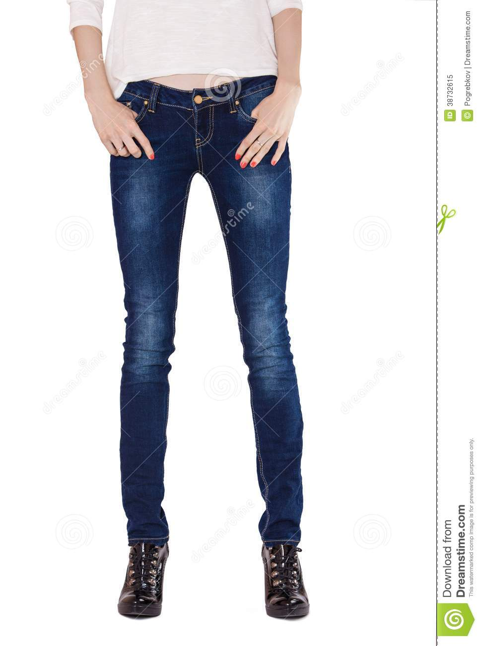 816bf33683 Shapely Female Legs Dressed In Dark Blue Jeans Stock Image - Image ...