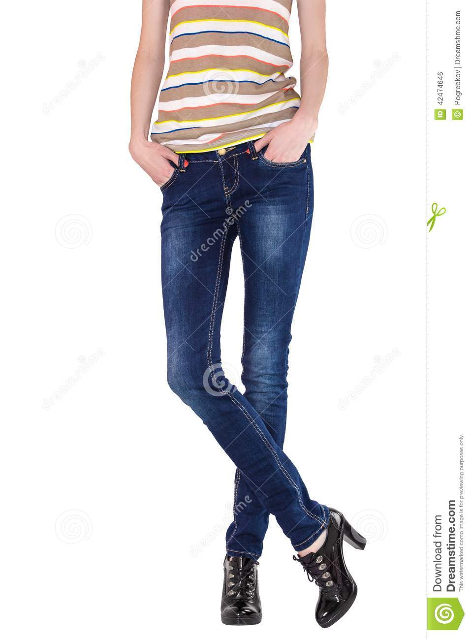 Shapely female legs dressed in dark blue jeans stock photo Black shirt blue jeans