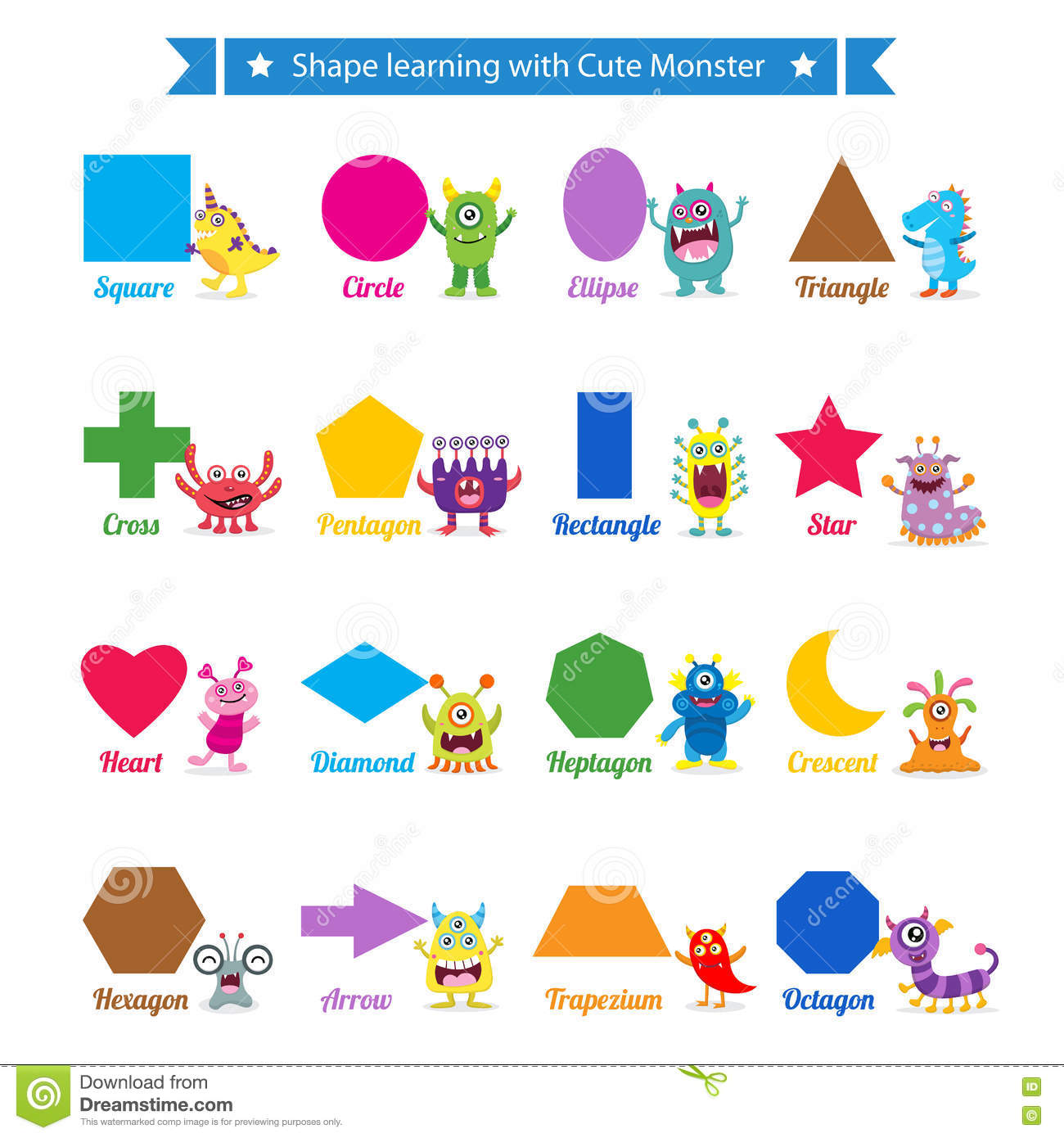 worksheet Learning Shapes shapes learning with cute monster stock vector image 72040055 monster