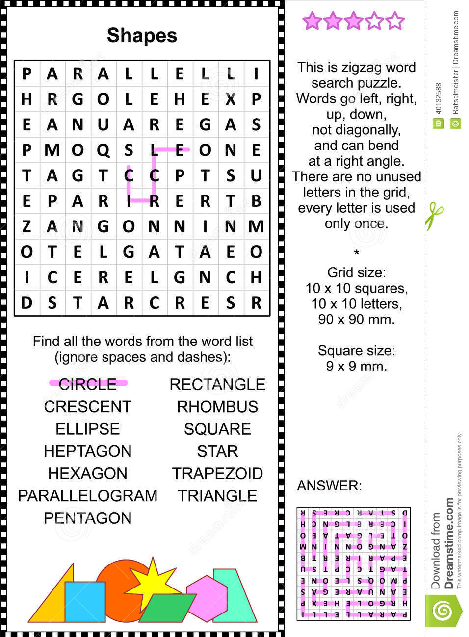 Shapes themed zigzag word search puzzle (suitable both for kids and ...