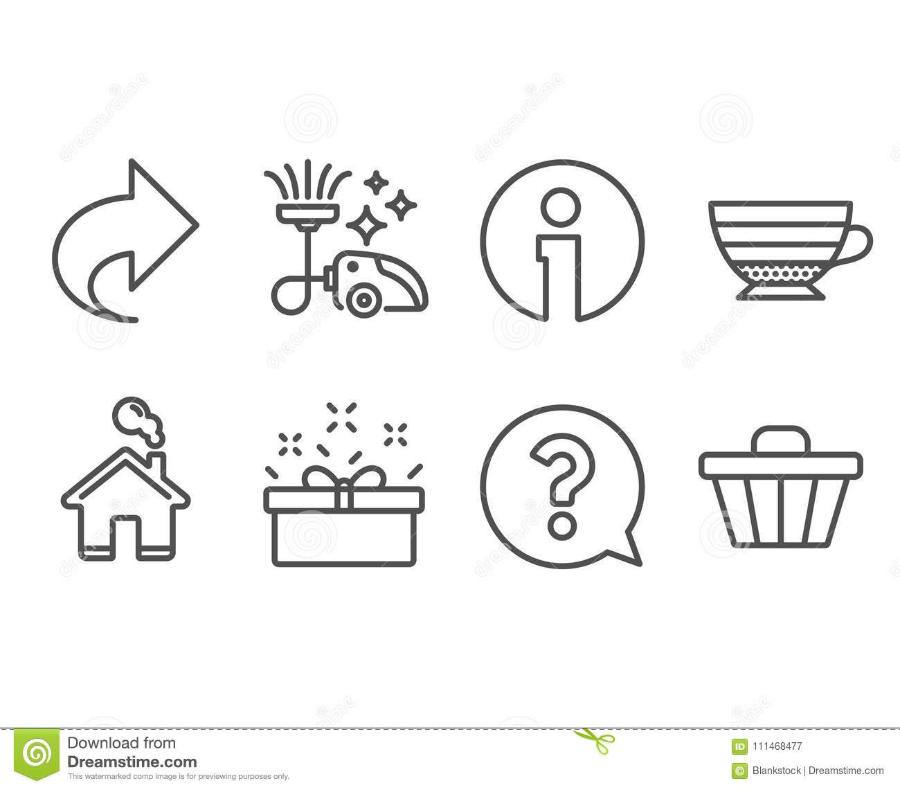 share cappuccino and vacuum cleaner icons question mark present