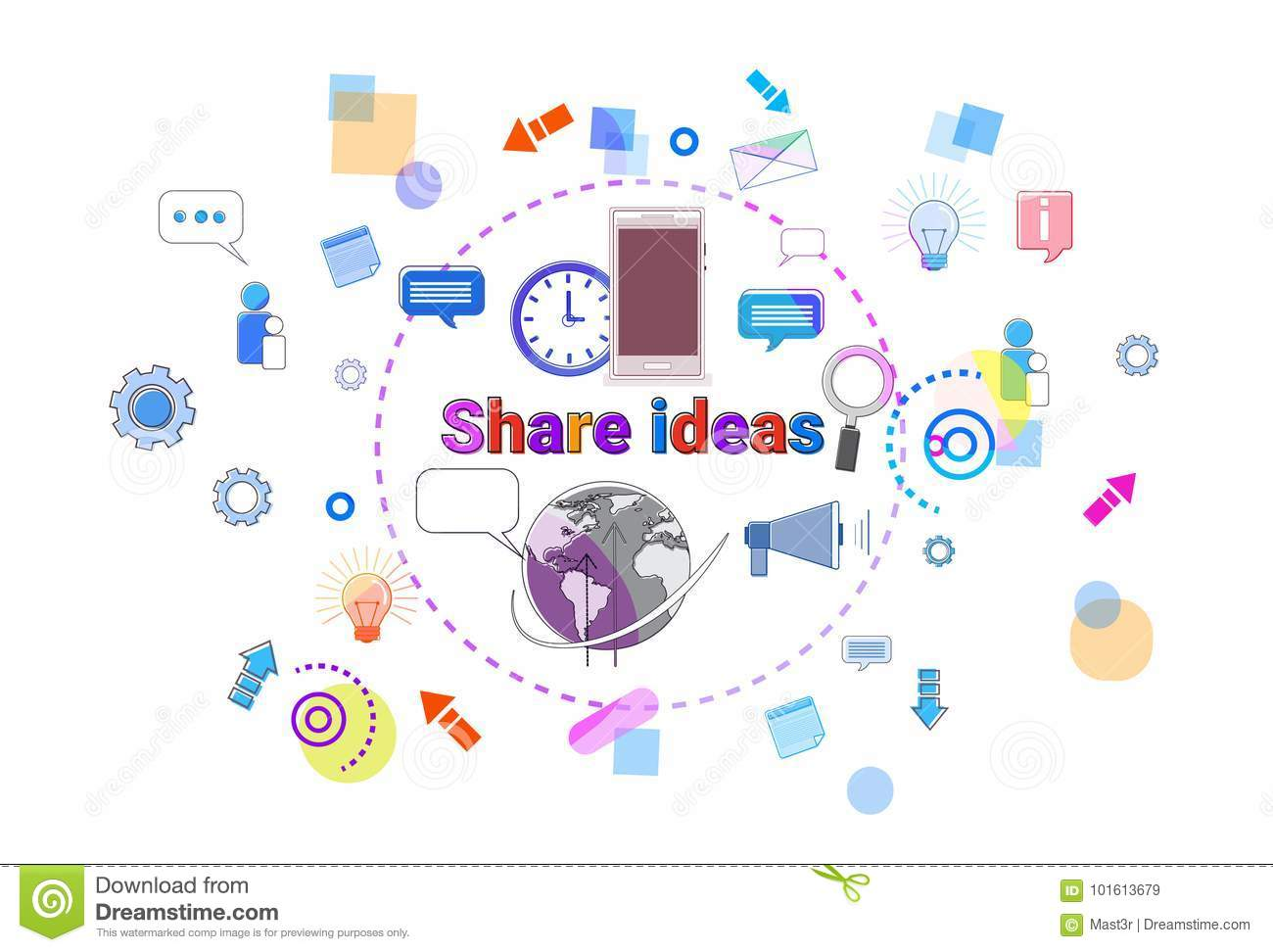 share ideas concept business team brainstorming process banner stock