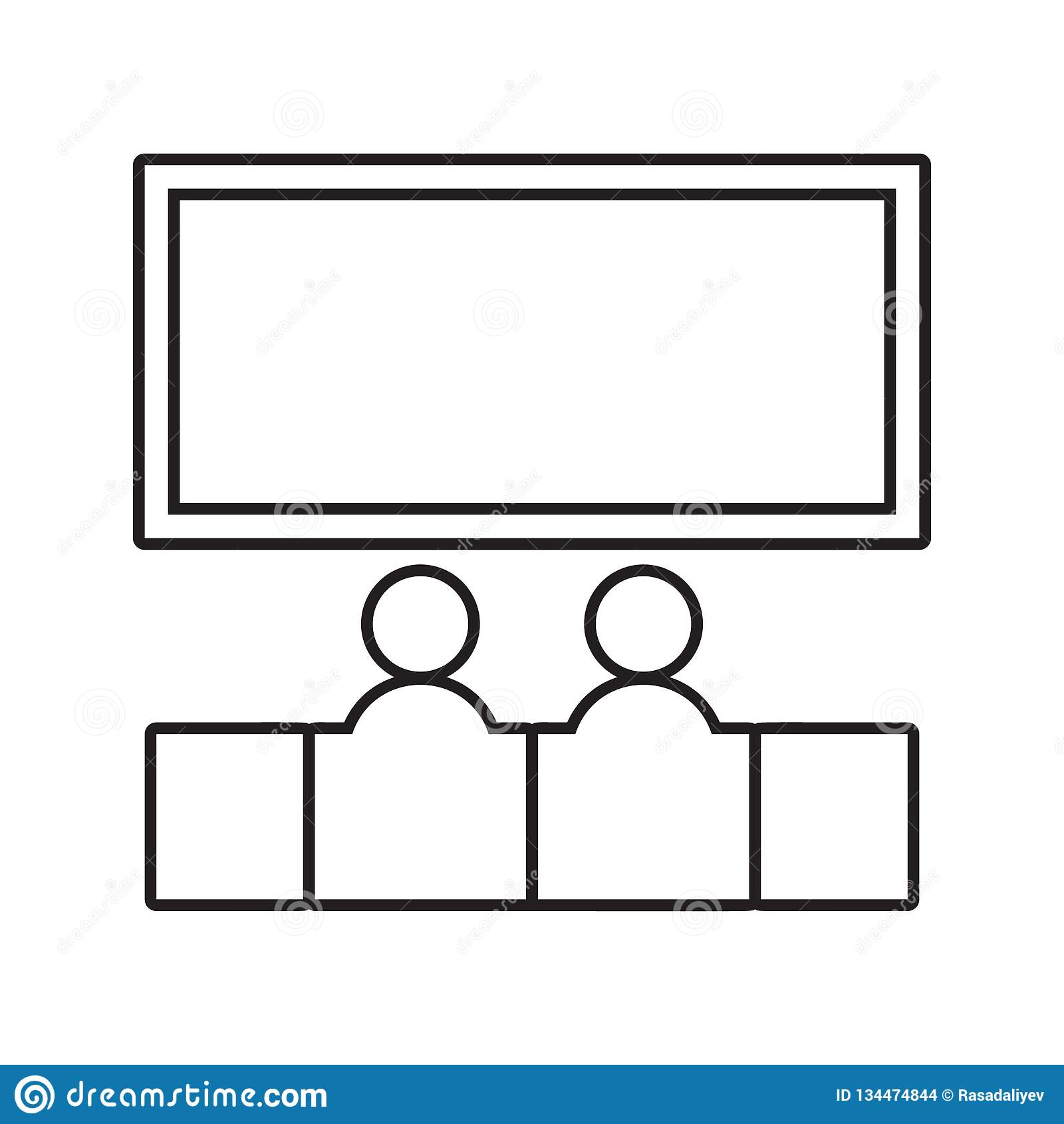 Shared movie icon. Element of Conversation and Friendship for mobile concept and web apps icon. Thin line icon for website design. And development, app royalty free illustration