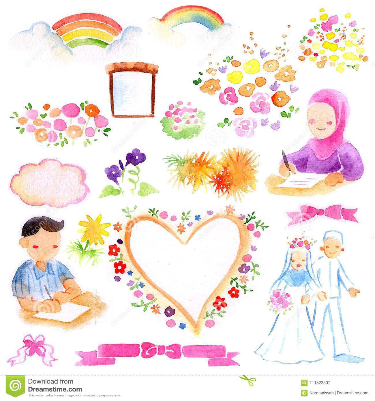 Sharia And Islamic Wedding Theme Watercolor Illustration Stock ...