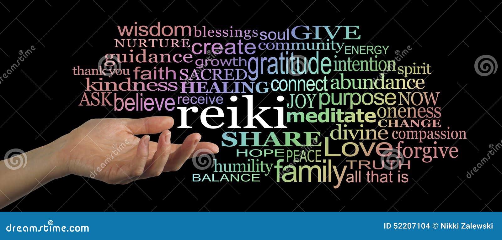 Sharing Reiki Word Cloud Website Header Stock Photo