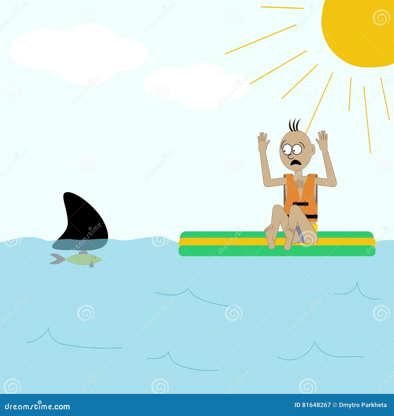 Shark attack illustration stock vector  Illustration of