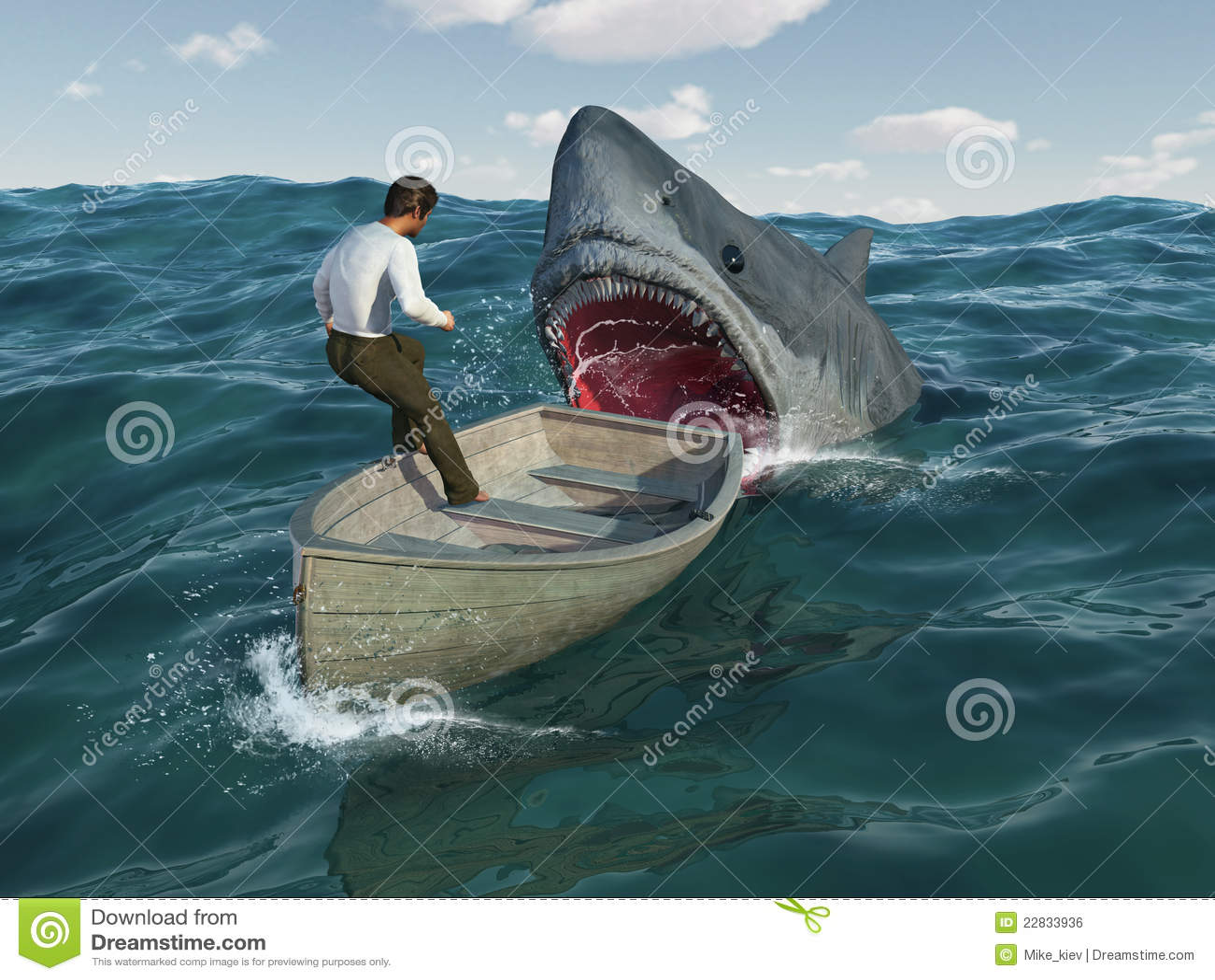 Royalty free stock image shark attacks man in a boat