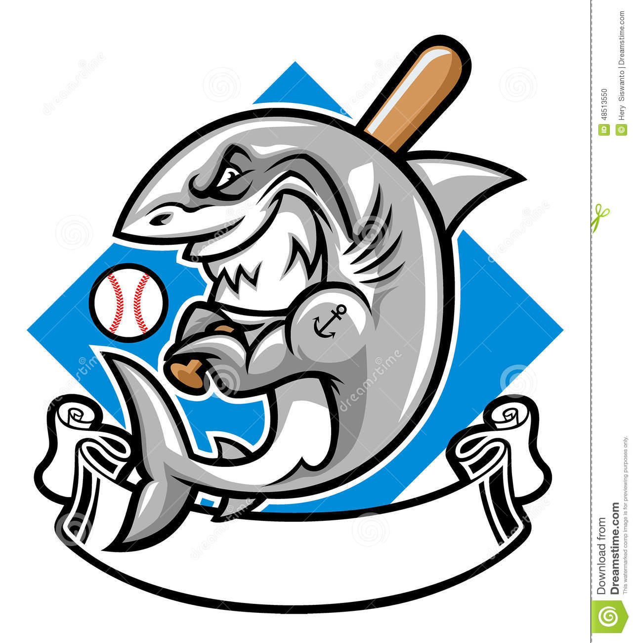 Shark baseball mascot stock vector. Image of baseball ...