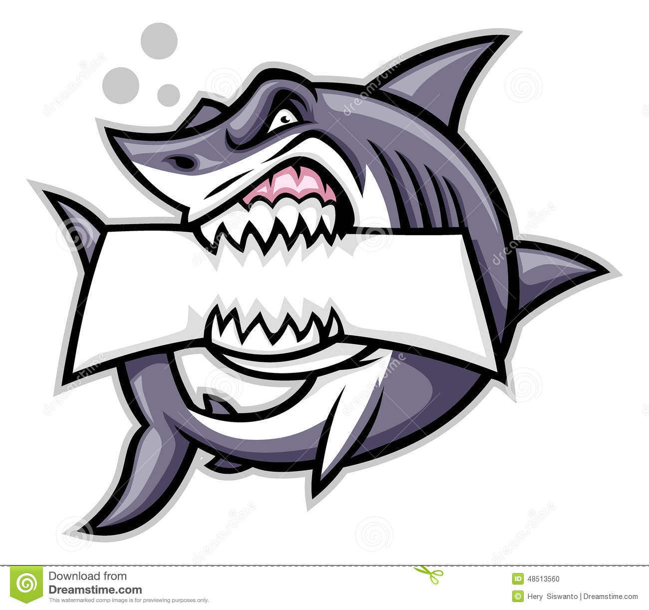 Shark Bite A Blank Sign Stock Vector - Image: 48513560
