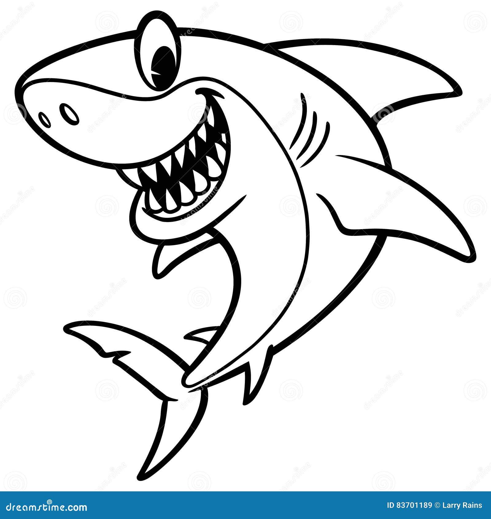 Shark Cartoon Drawing Stock Vector. Illustration Of