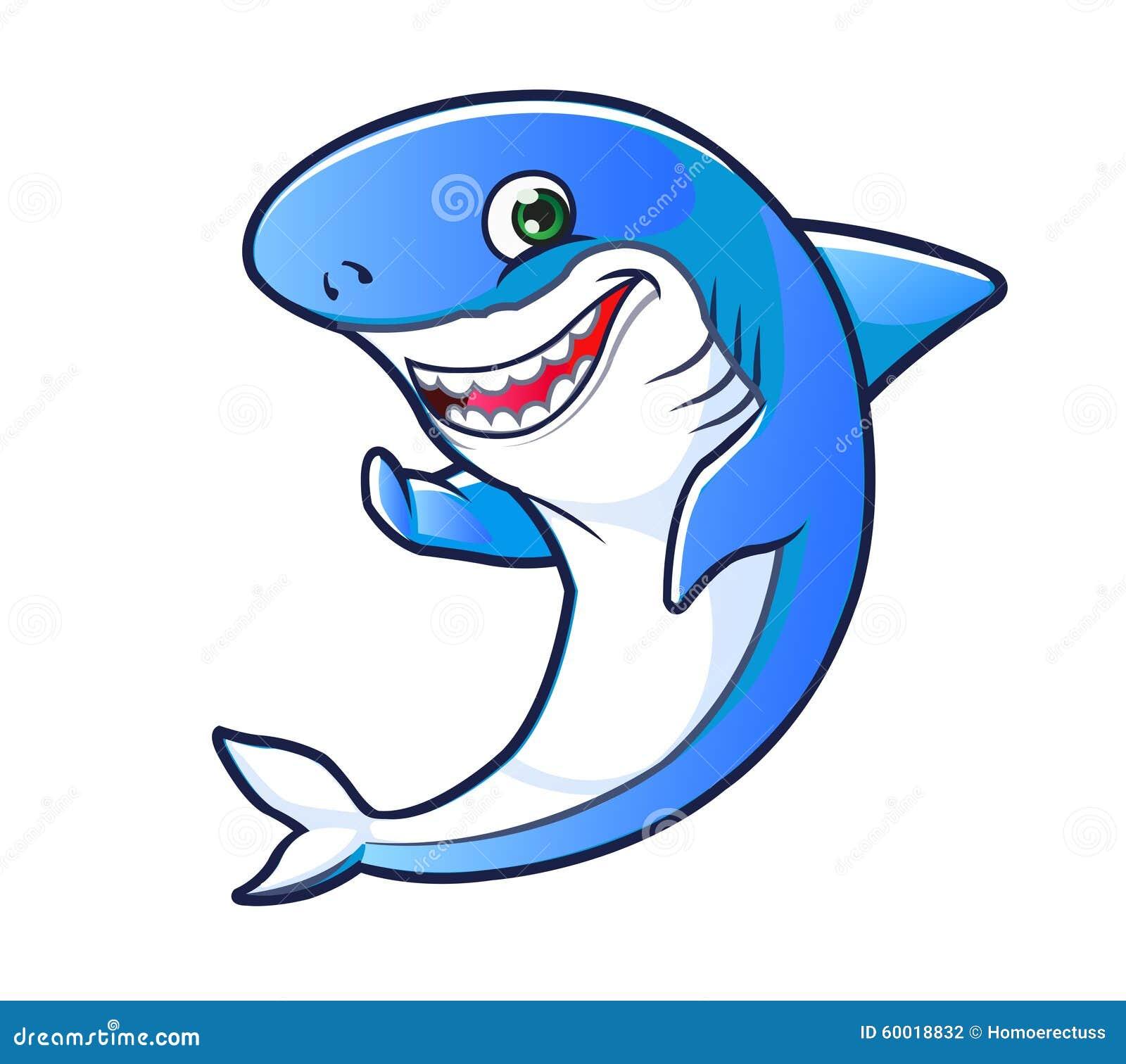 Vector Illustration of Funny and Friendly Shark Cartoon Mascot.