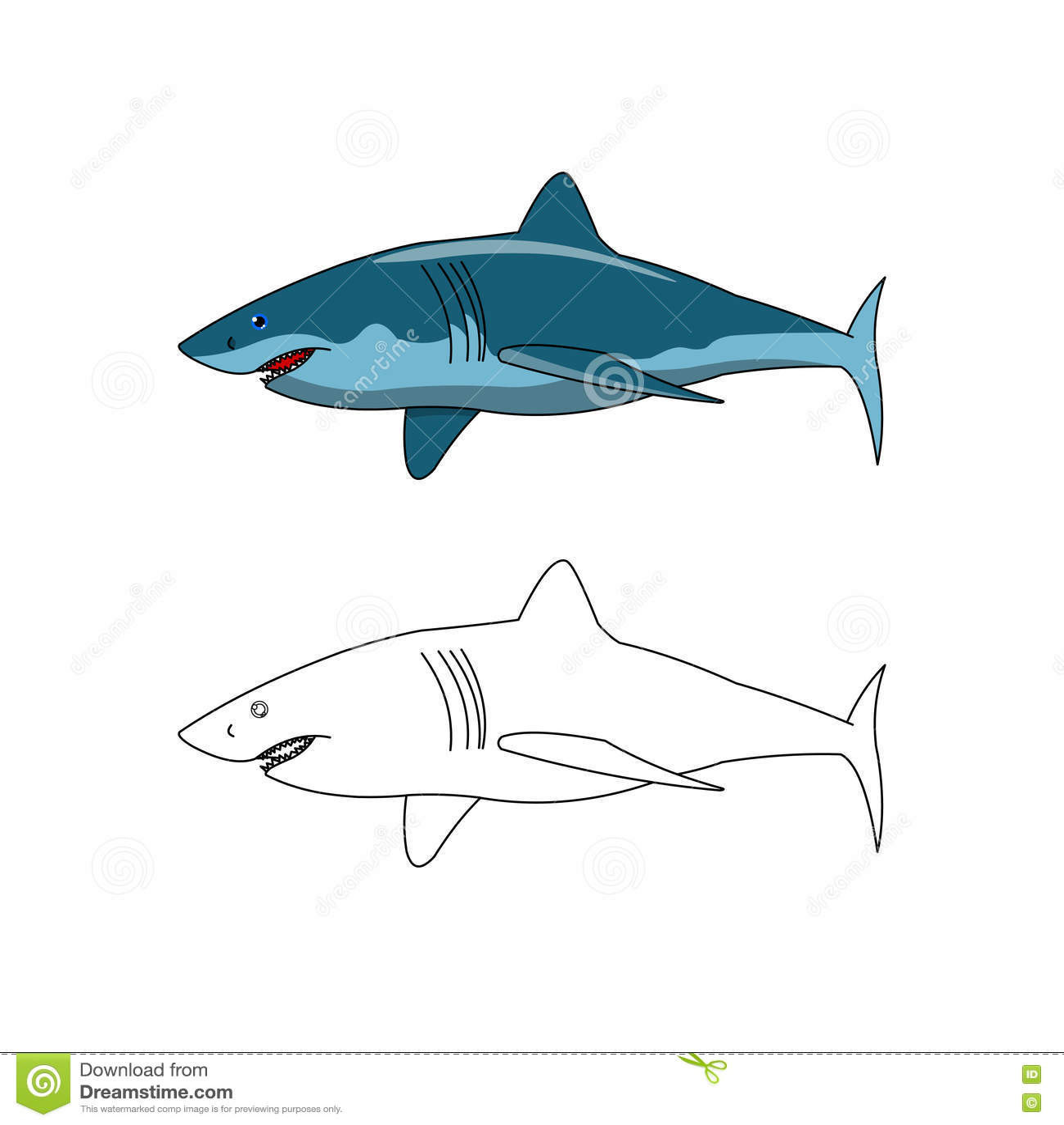 shark color and outline stock illustration illustration of sharks