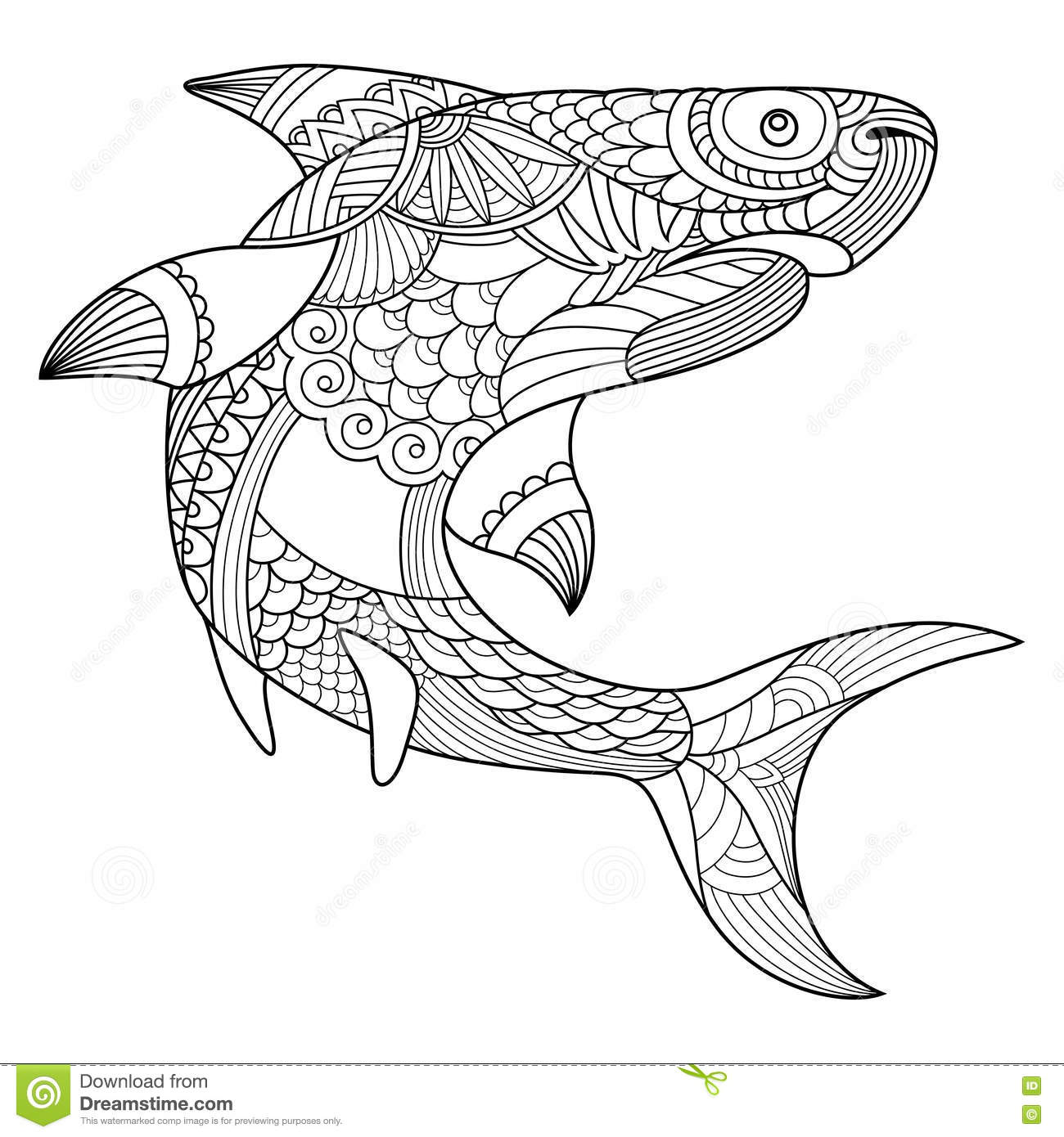 Royalty Free Vector Download Shark Coloring Book