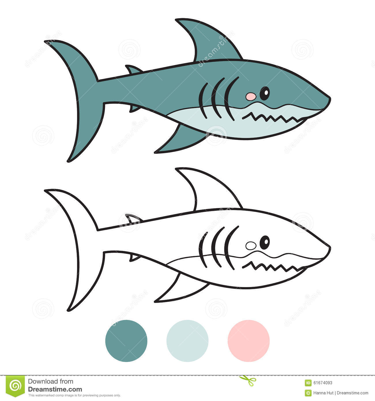 - Shark. Coloring Book Page. Cartoon Vector Illustration. Stock