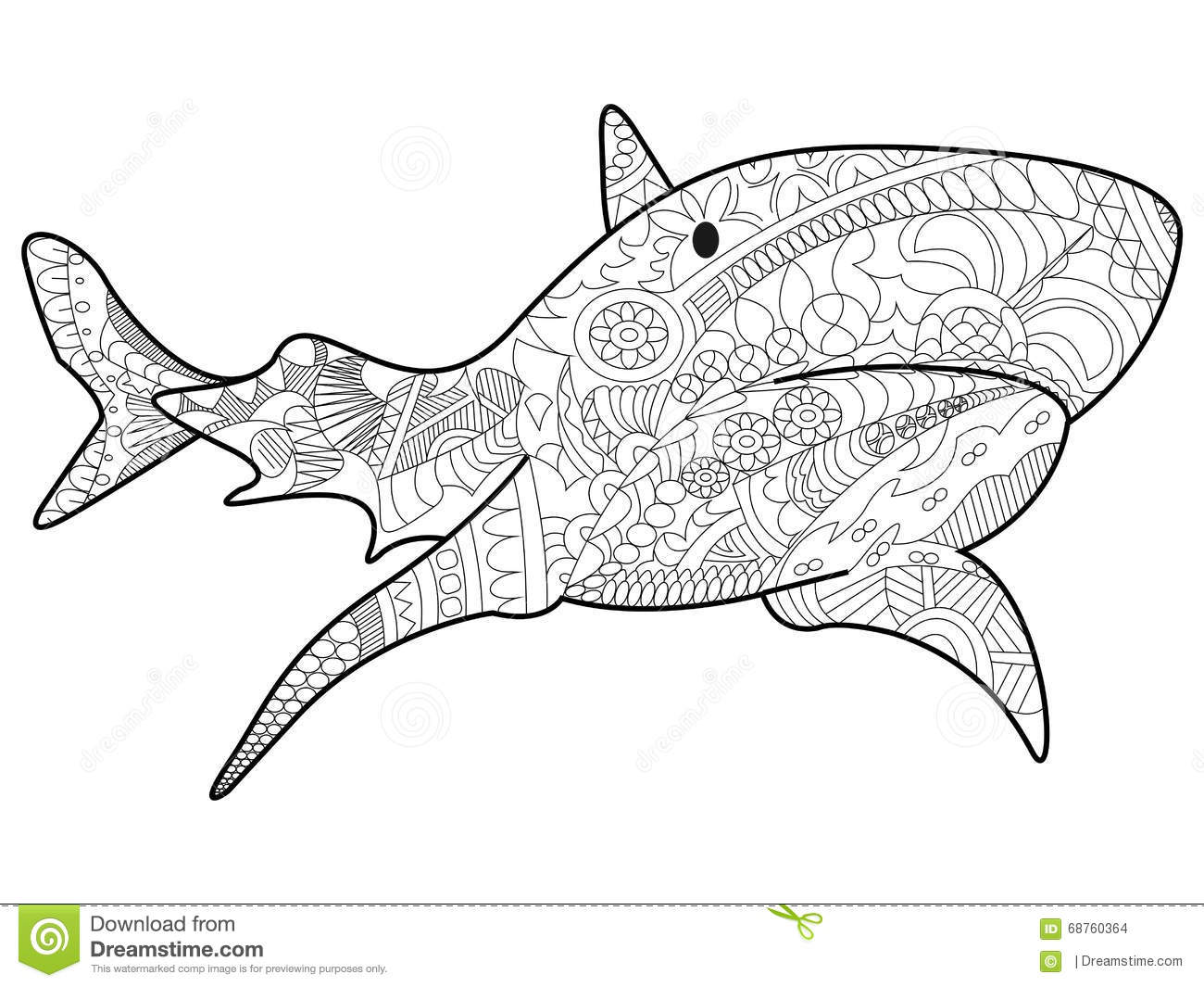 shark coloring vector for adults stock vector image 68760364
