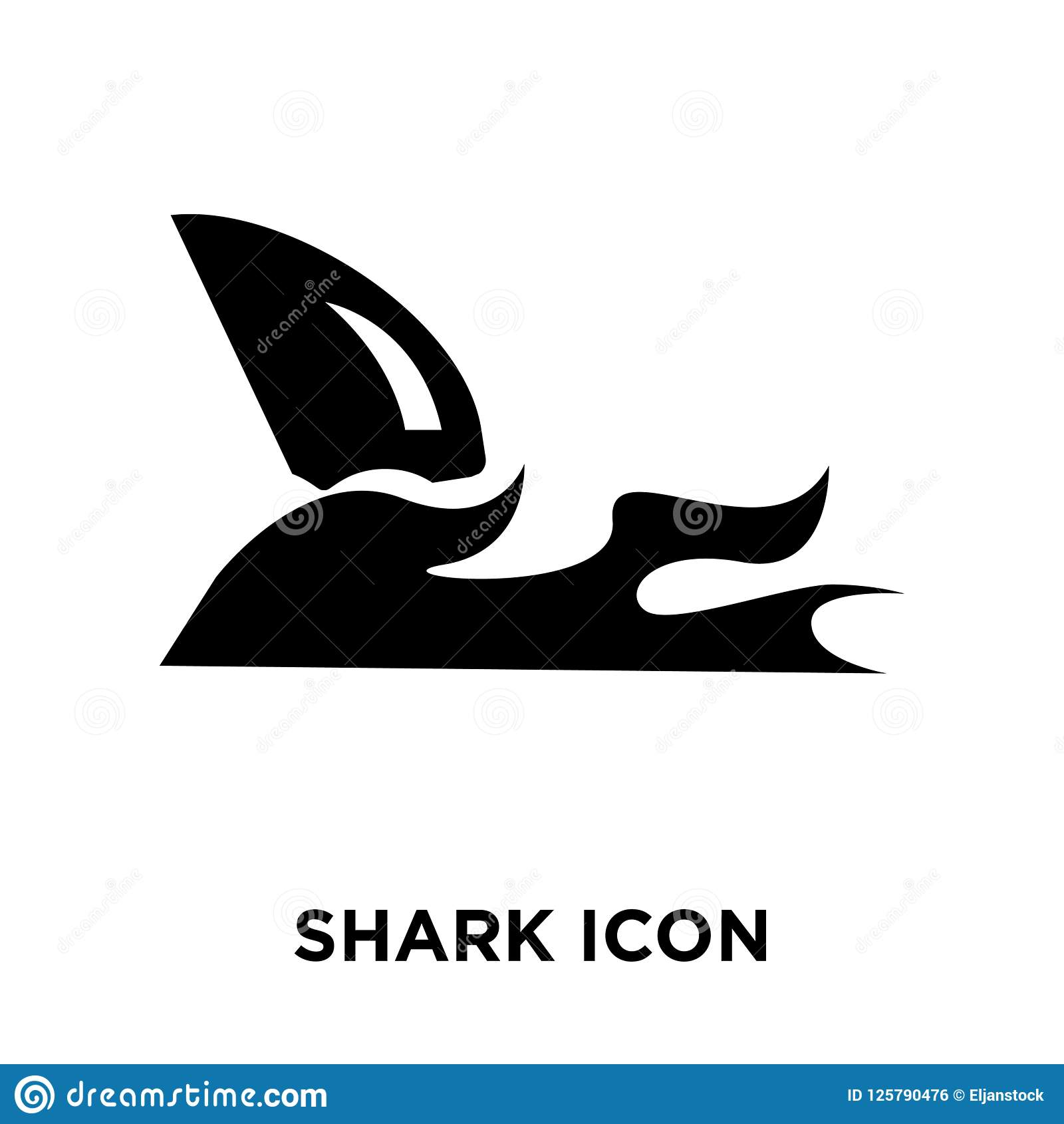 Shark icon vector isolated on white background, logo concept of