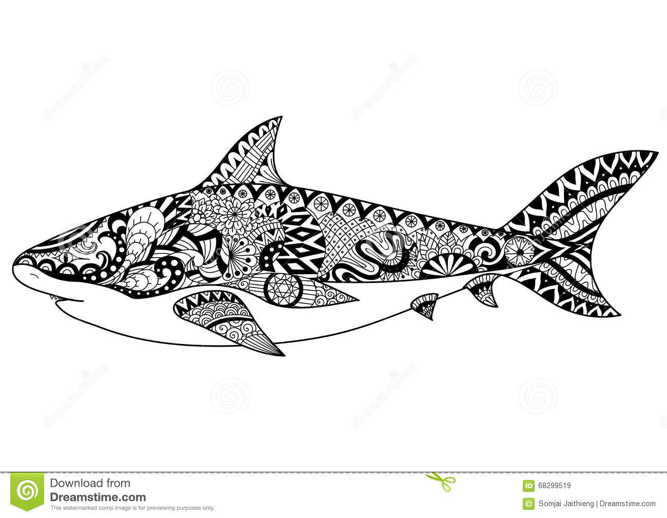 shark line art design for coloring book for tattoo t shirt
