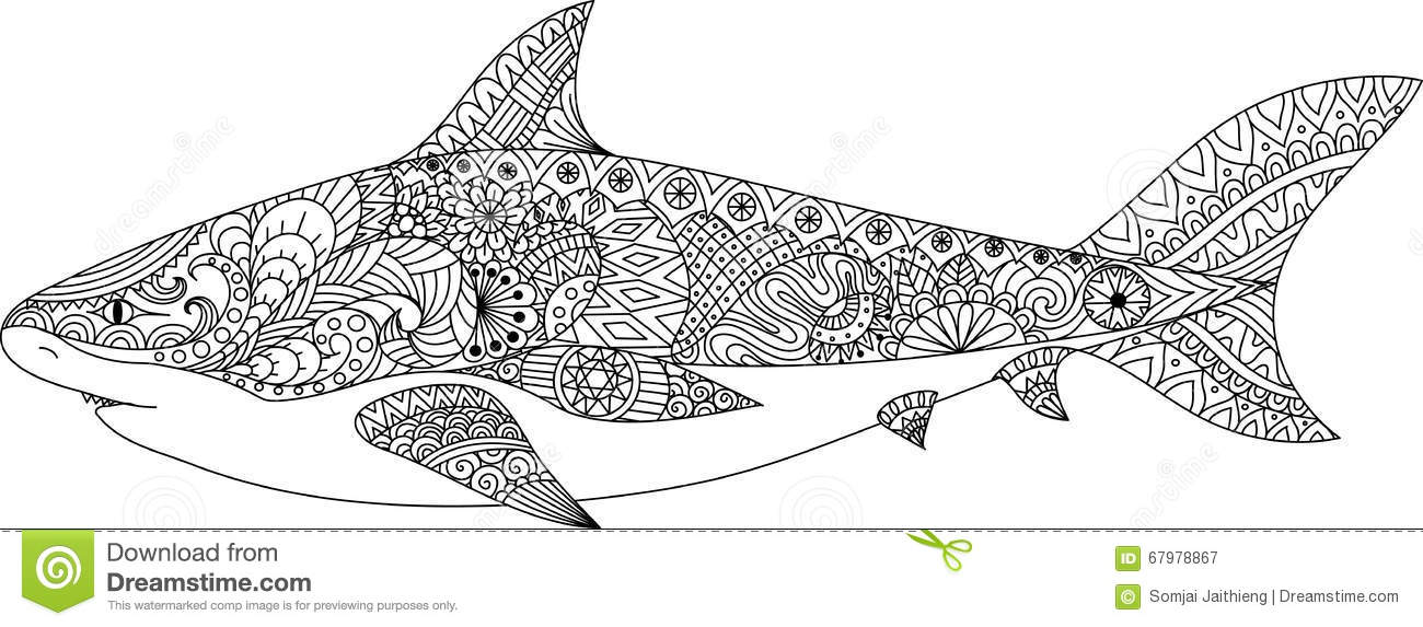 Shark Line Art Design For Coloring Book For Adult Tattoo T Shirt