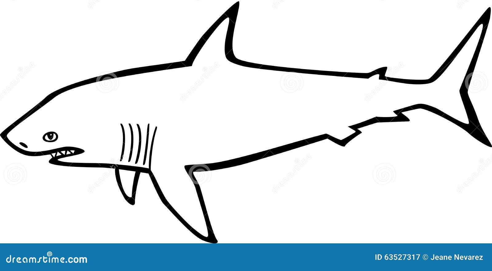 Uncategorized Great White Shark Outline shark stock vector image of tail beast black isolated 63527317