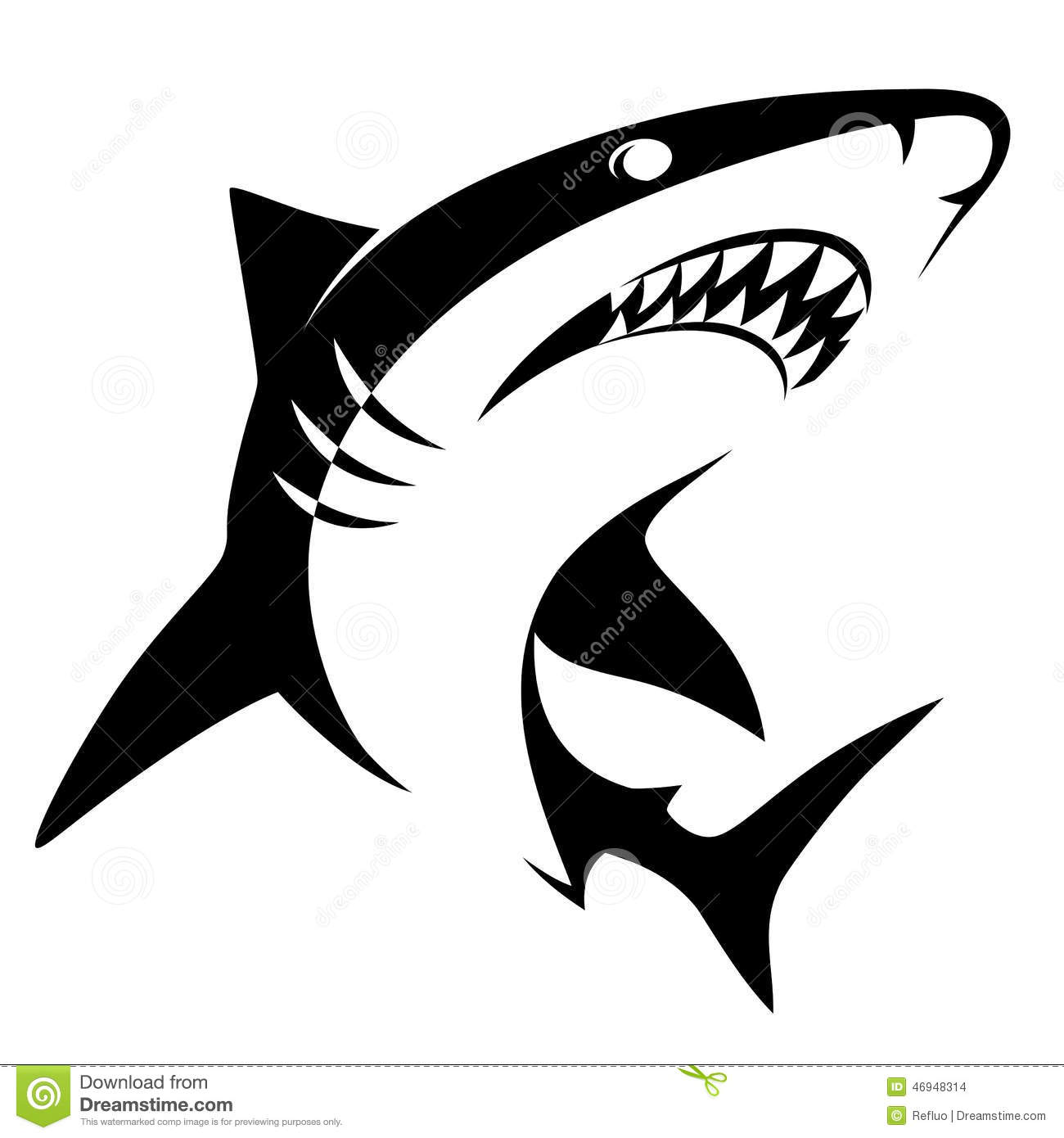 Shark Sign Stock Vector Illustration Of Shark Silhouette