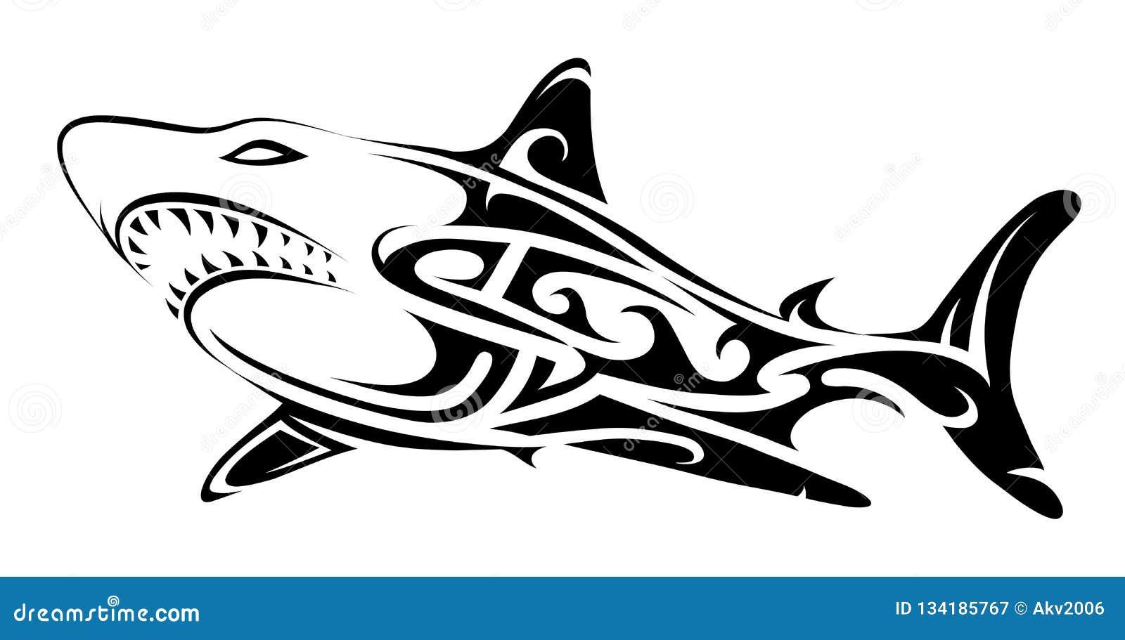 Tribal art shark tattoo stock vector  Illustration of
