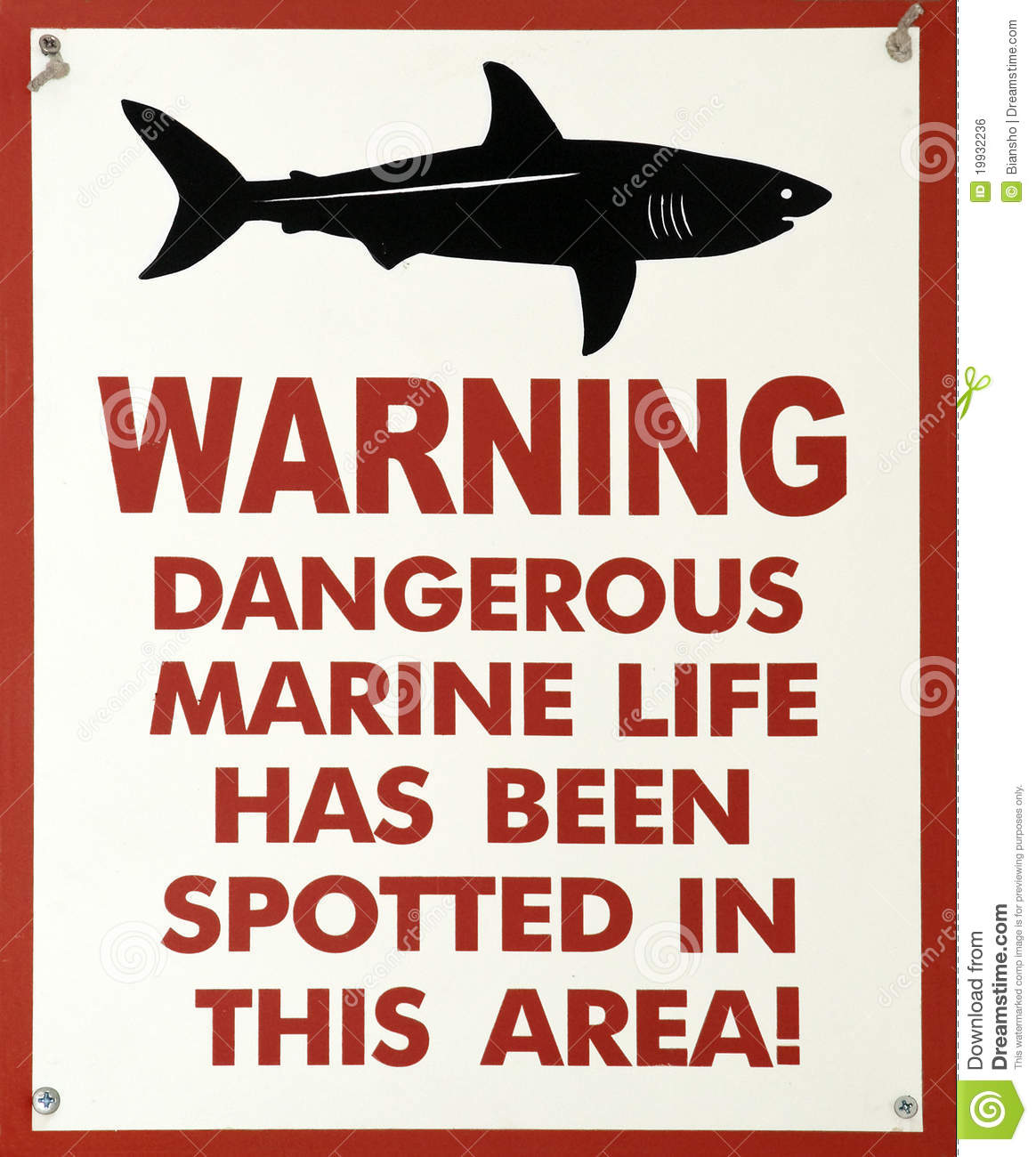 Shark Warning Sign Royalty Free Stock Image - Image: 19932236