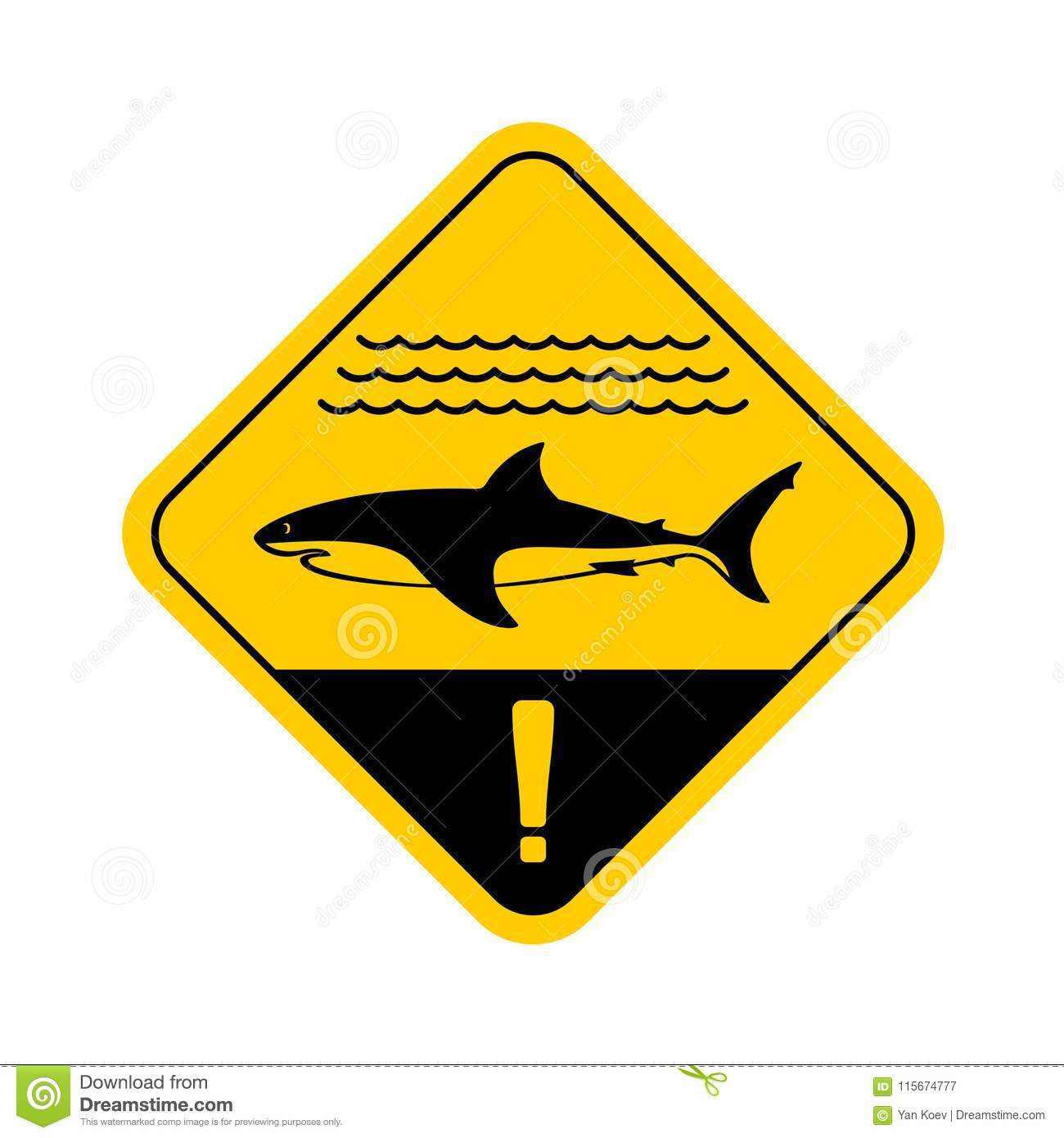Shark warning sign with sea waves.
