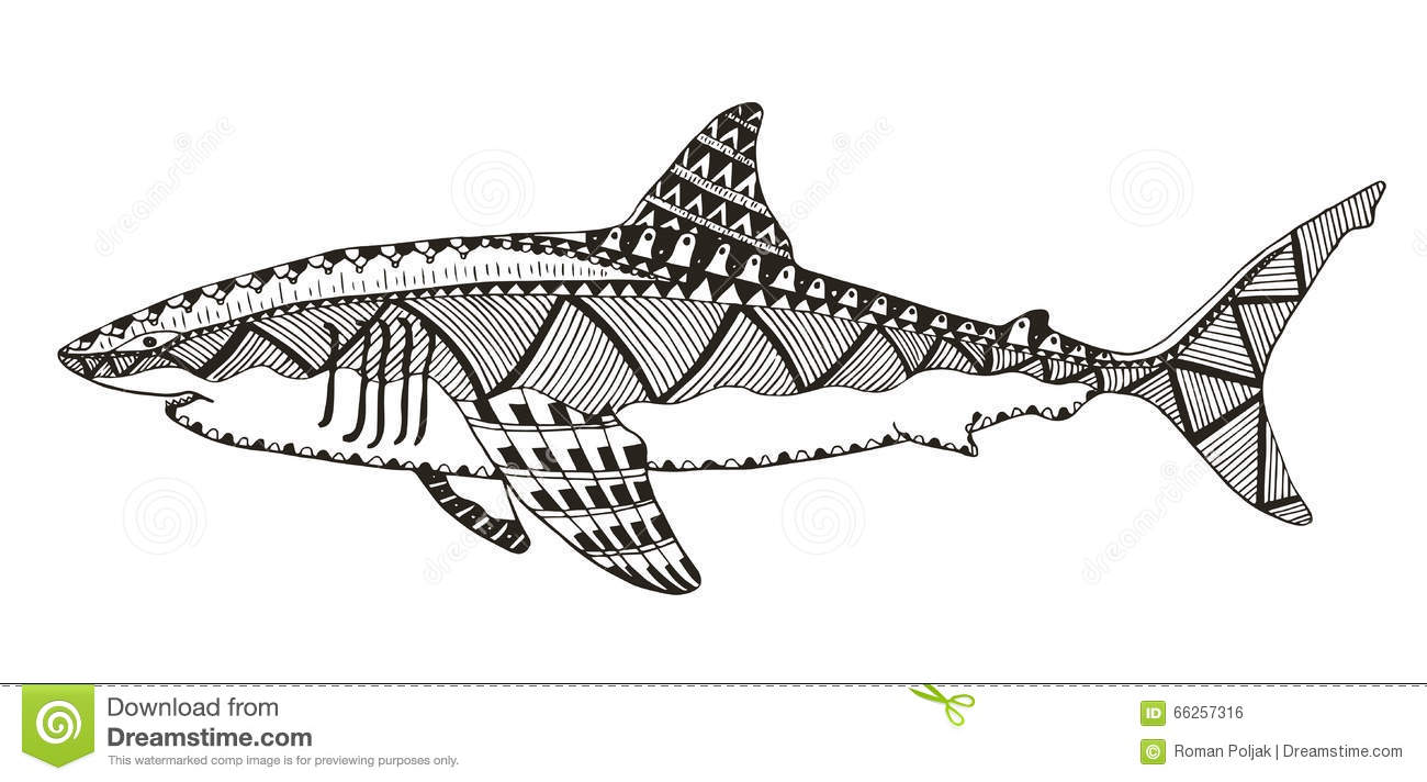 Shark Zentangle Stylized Vector Illustration Pattern