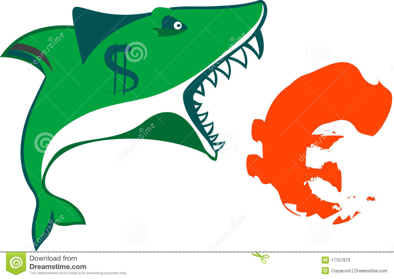 The Sharks Mouth Holds Euro Sign On Isolated Vecto Stock Vector
