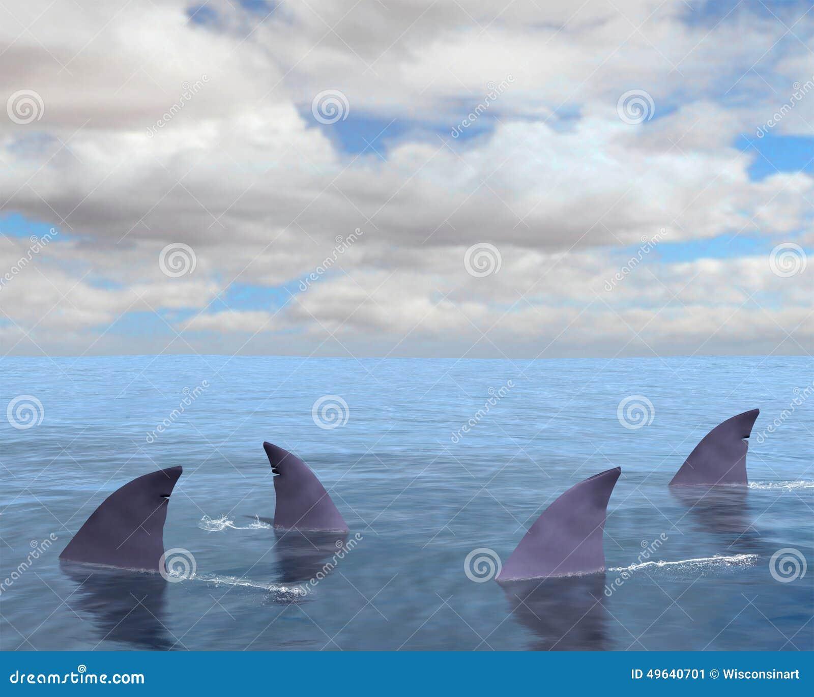 Sharks, Shark Fin, Sea, Ocean Stock Illustration