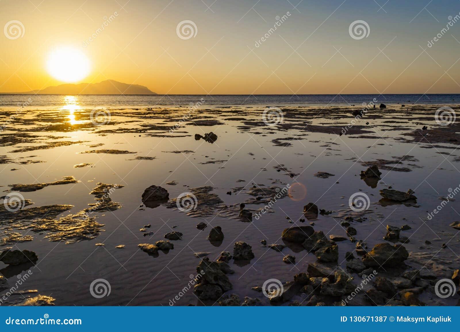 Sharm-El-Sheikh, Egypt Wonderful sunset in over Tiran island, Re