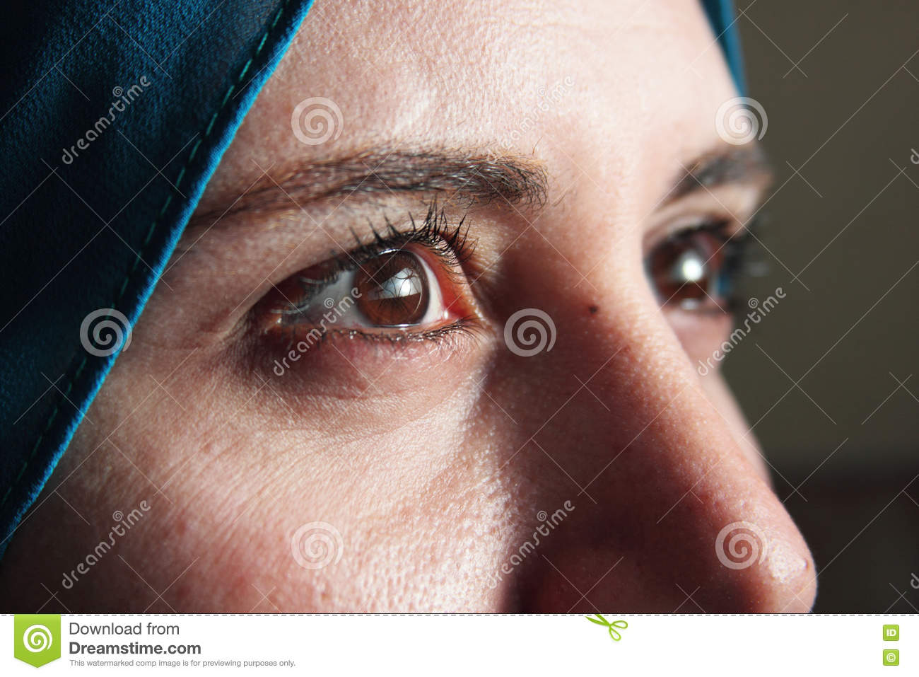 Sharp eyes of arab muslim woman