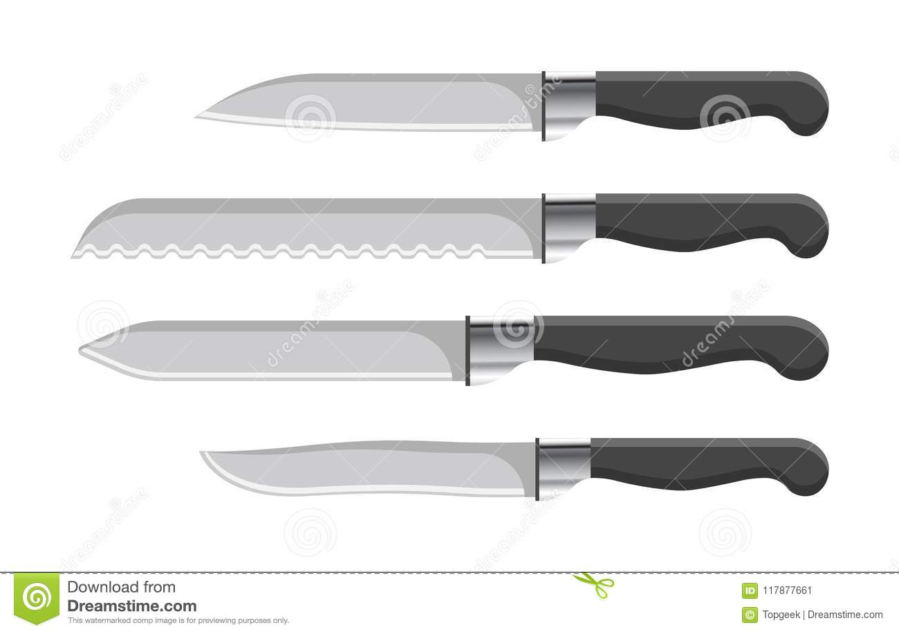 Sharp Kitchen Knives Set With Plastic Handles Stock Vector