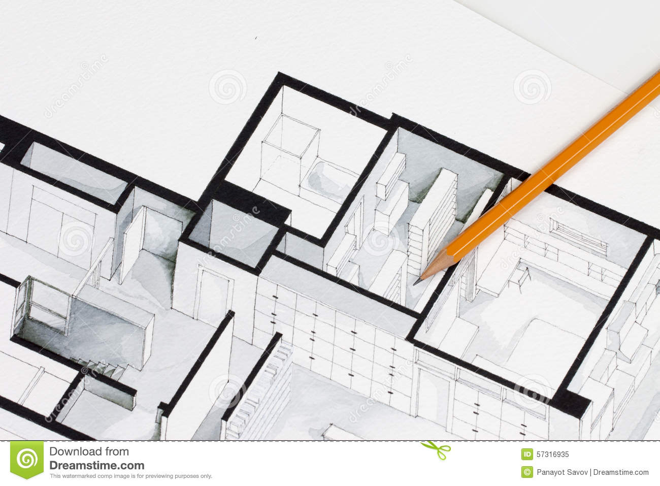Sharp orange glazed regular pencil on isometric floor plan for Plan de arquitectura