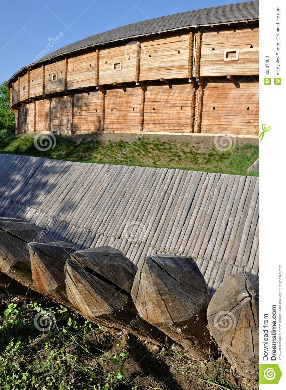 Sharp wooden paling as part of old fort stock photos for Old wooden forts