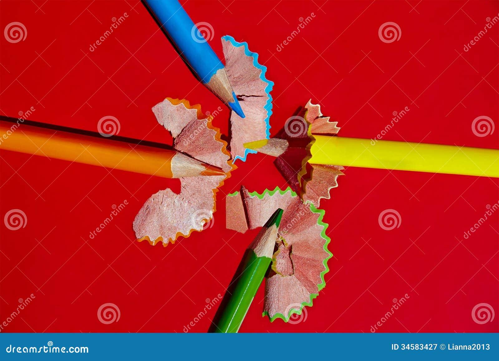 sharpened a color des crayons et des copeaux en bois - Copeaux De Bois Colors