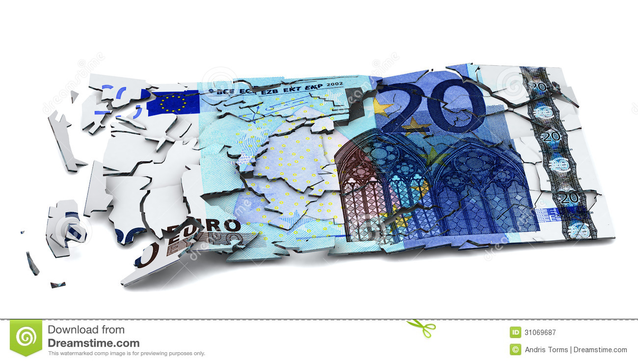 Shattered euro banknote
