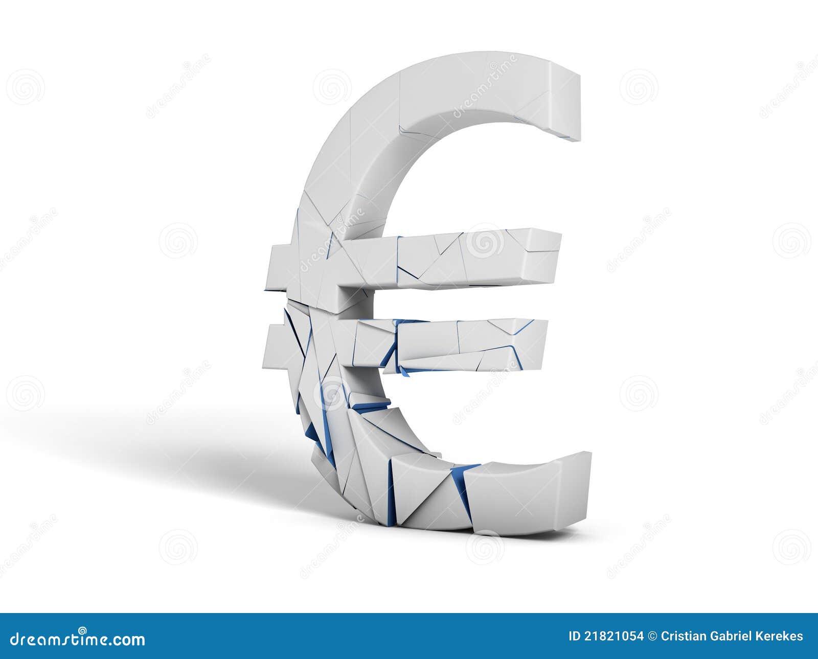 Shattered euro symbol