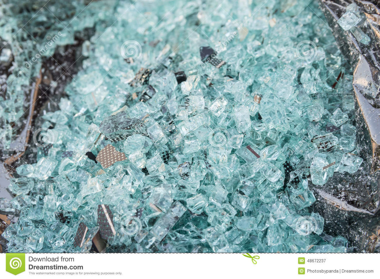Shattered Glass Of Back Tempered Window Of A Car Stock