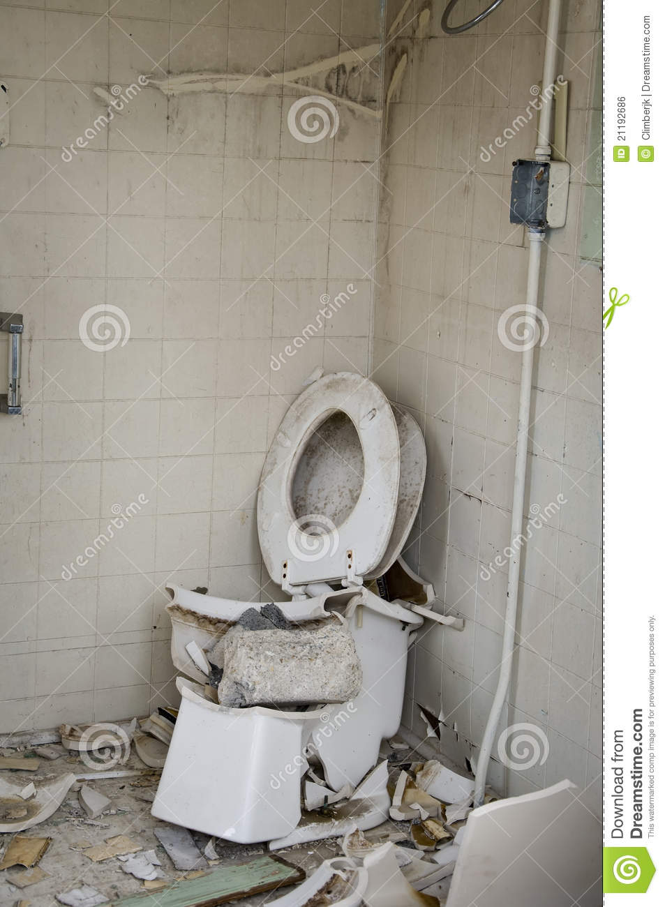 Shattered Toilet Royalty Free Stock Image Image 21192686
