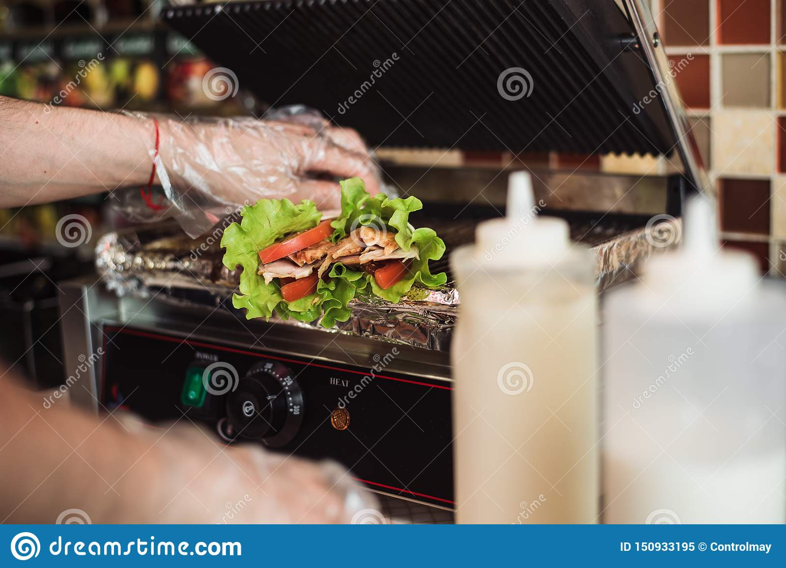 Shawarma doner baked in an electric oven in a fast food restaurant