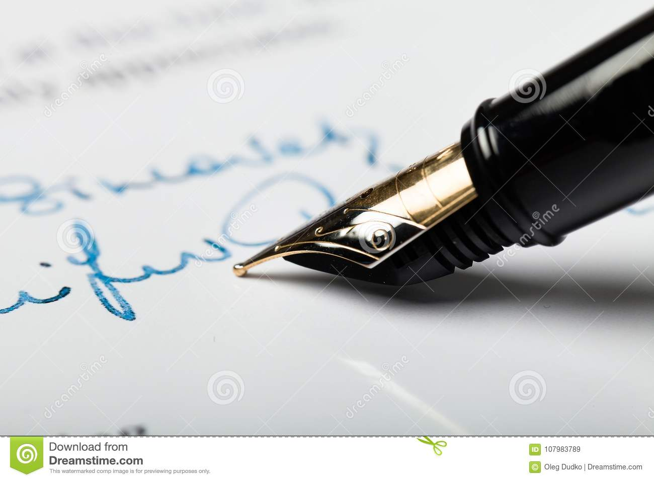 Sheaffer Fountain Pen Sign In To The Letter  Stock Image  Image Of