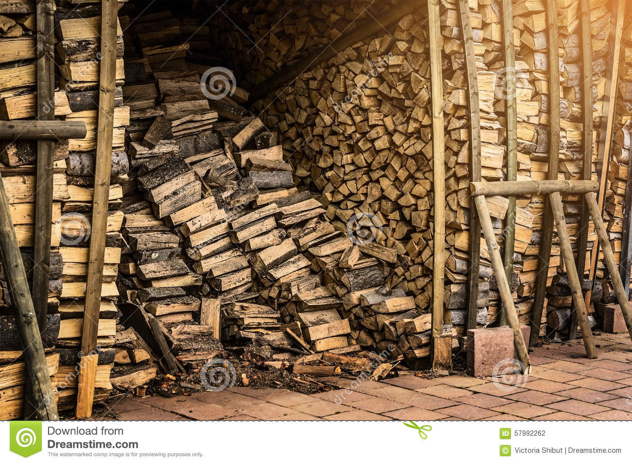Shed with fire wood for the fireplace - Shed With Fire Wood For The Fireplace Stock Photo - Image: 57992262