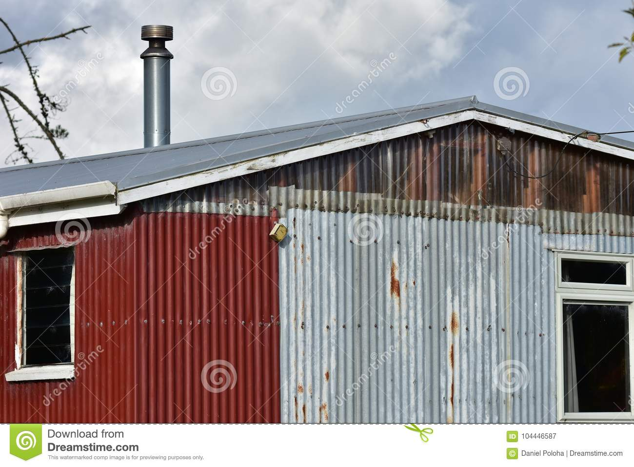 Corrugated Sheet Metal Shed Stock Image