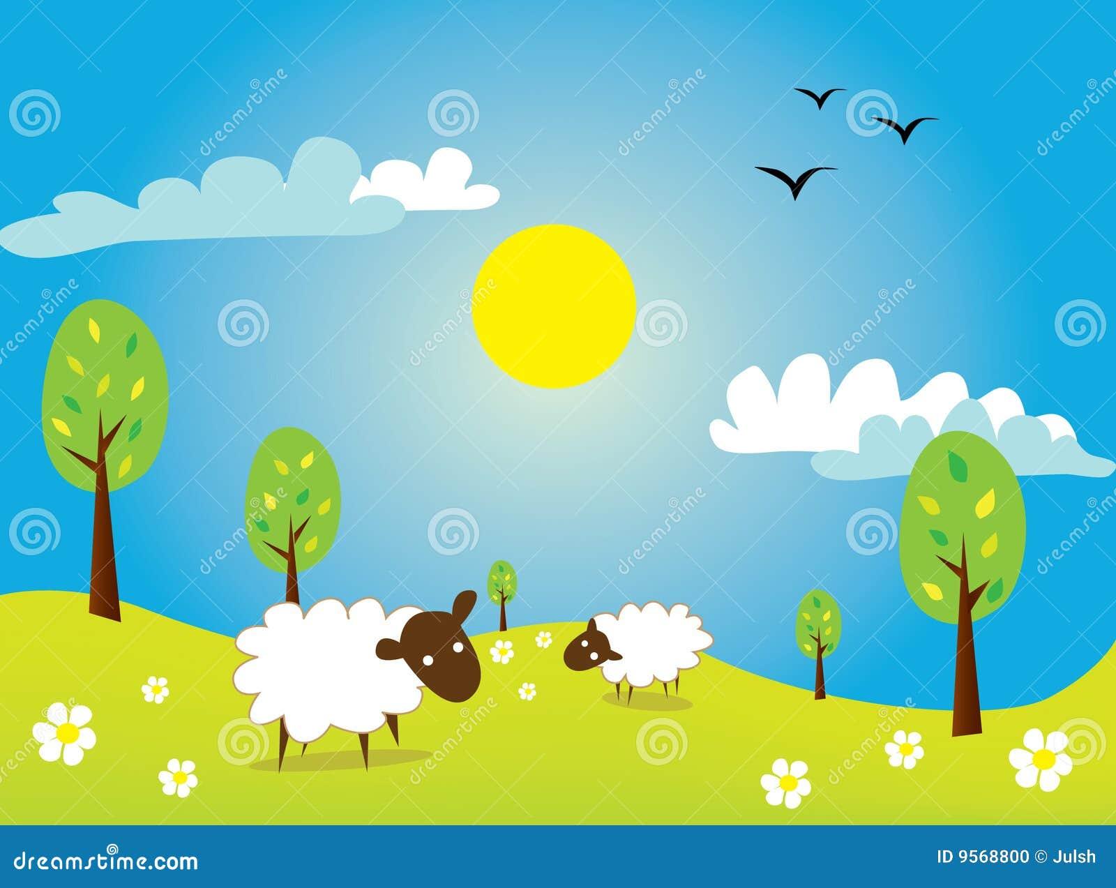sheep stock illustration illustration of happiness trees