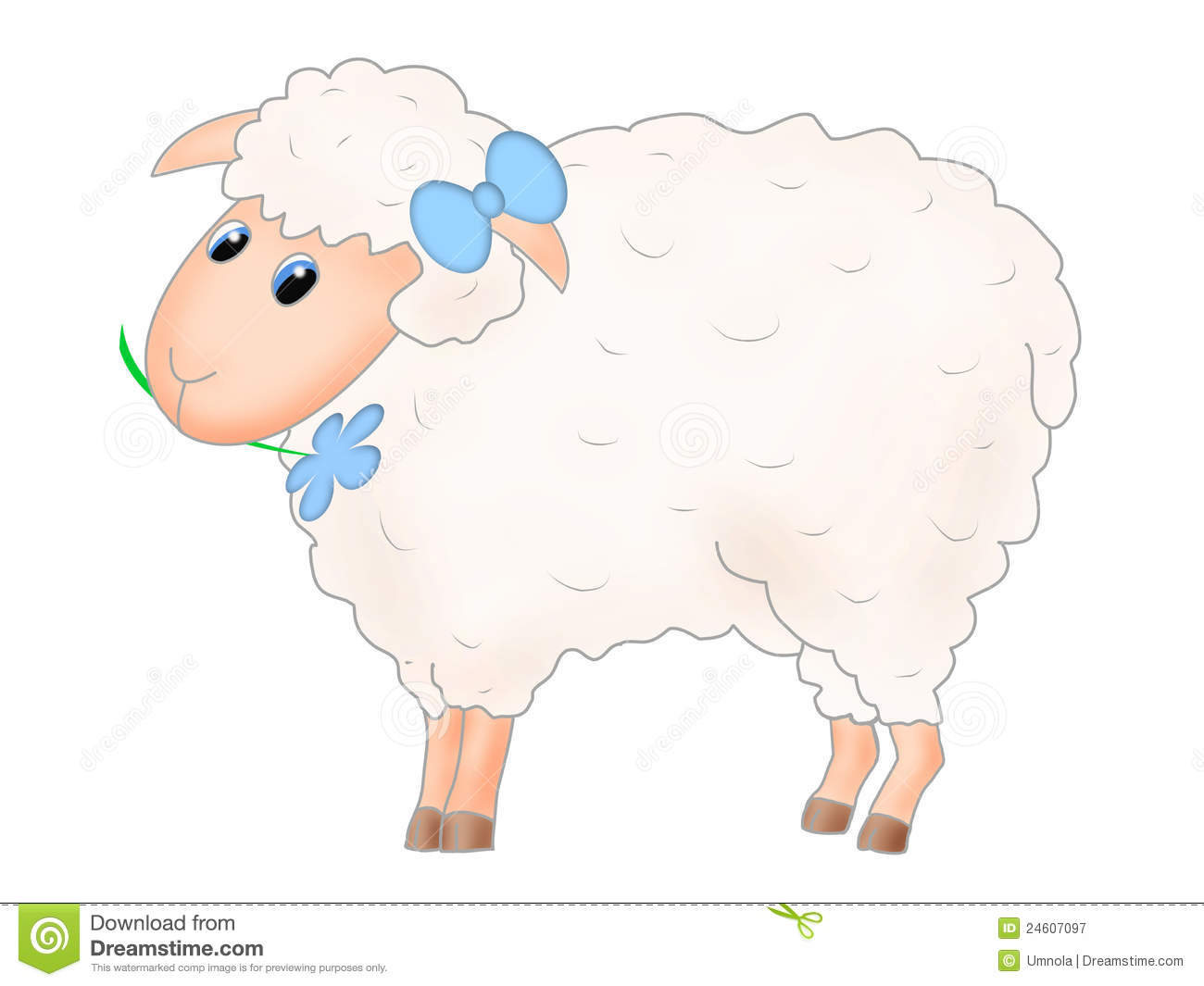 Sheep With Bow And Flower Royalty Free Stock Photography