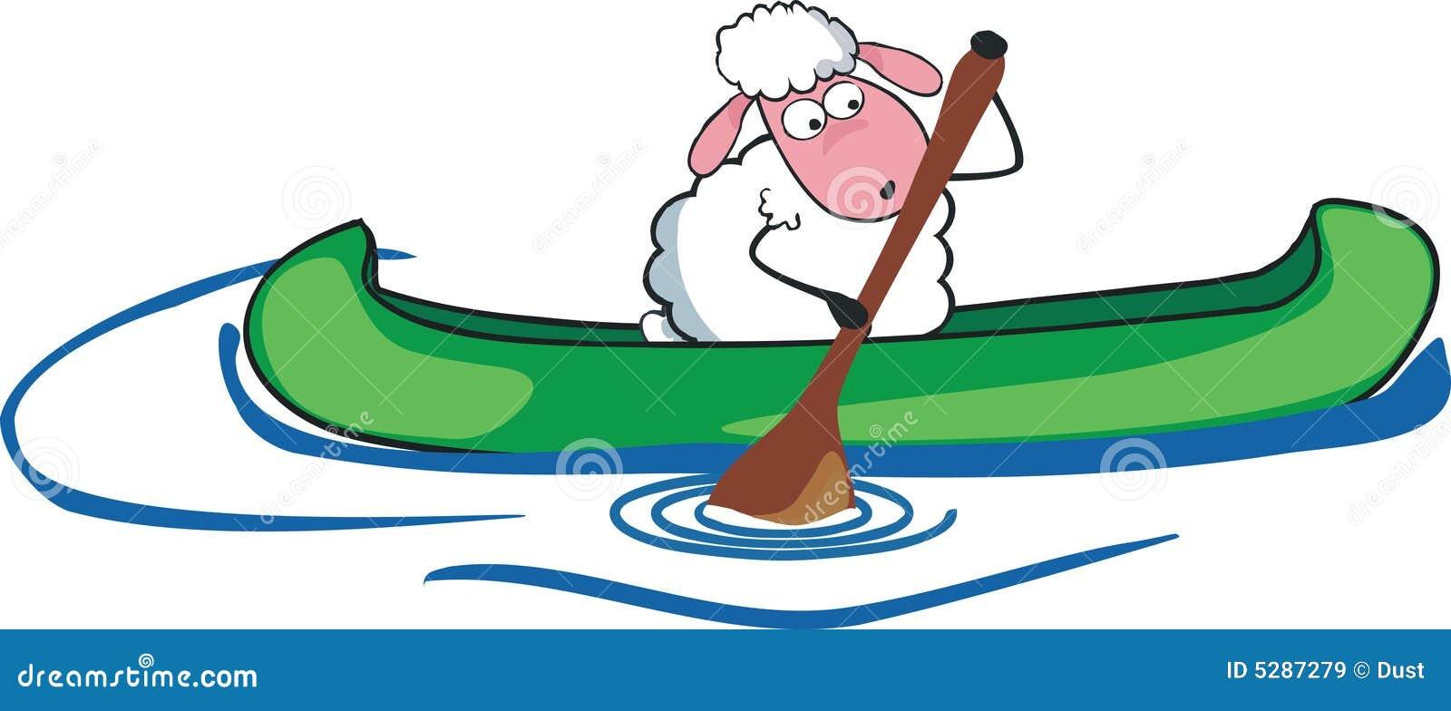 Sheep in canoe stock vector. Illustration of lamb, rowboat ...